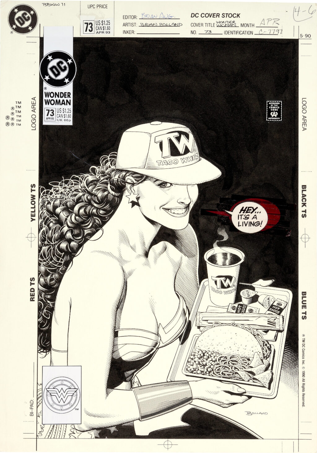 Wonder Woman issue 73 cover by Brian Bolland