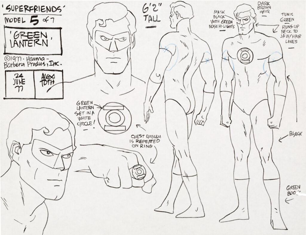 Green Lantern model sheet by Alex Toth