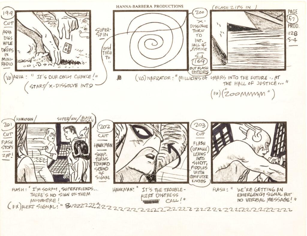 Super Friends storyboard by Alex Toth