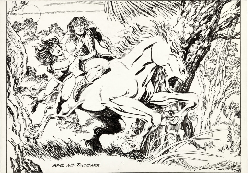 Thundarr the Barbarian concept illustration by Jack Kirby and Alfredo Alcala