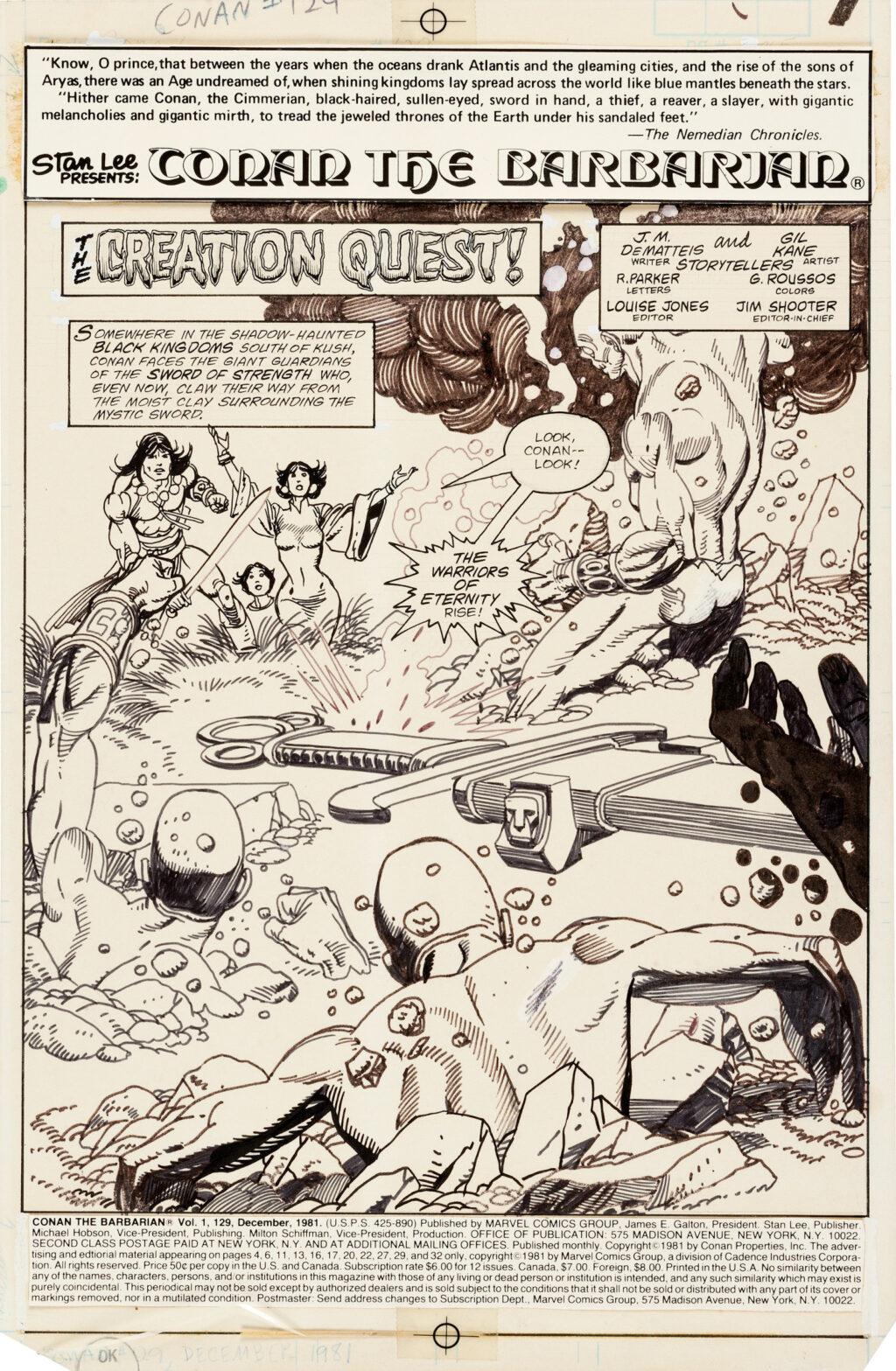 Conan the Barbarian issue 129 splash by Gil Kane