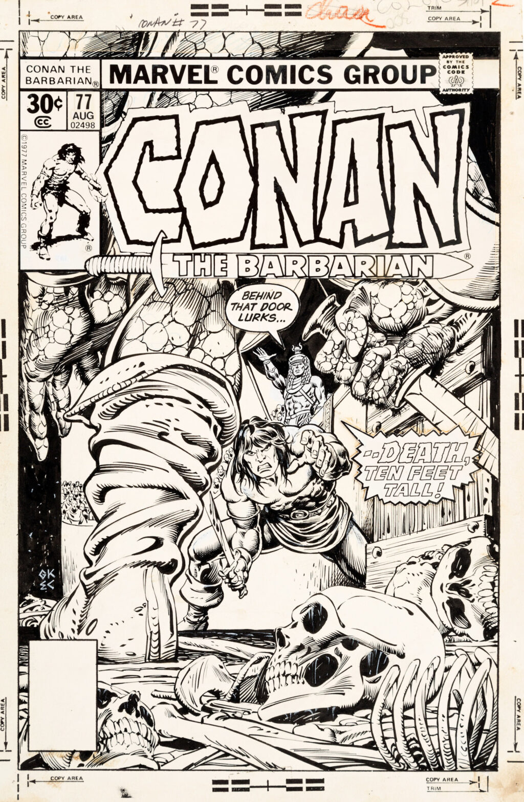Conan the Barbarian issue 77 cover by Gil Kane and Ernie Chan