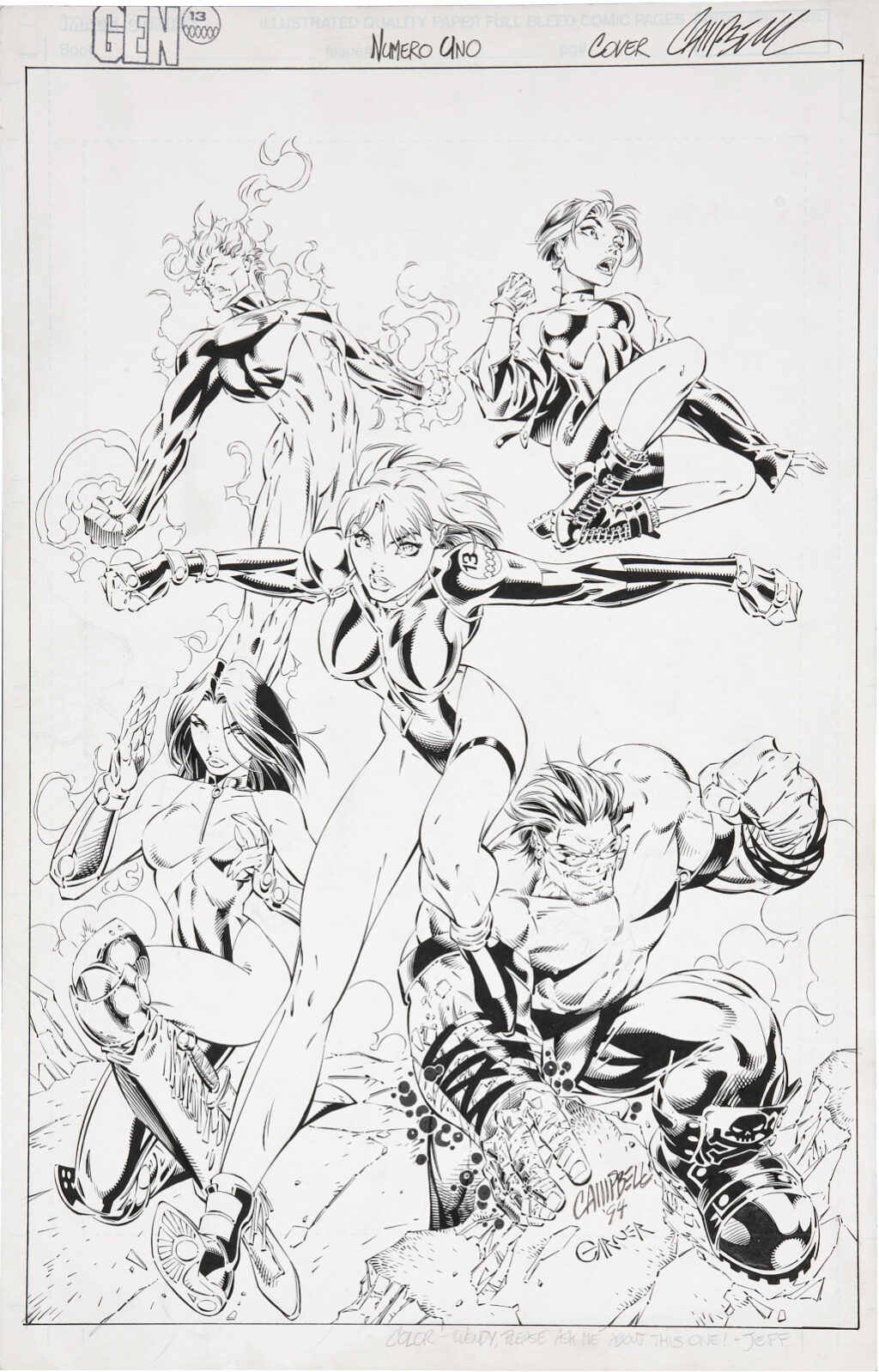 Gen 13 issue 1 cover by J. Scott Campbell and Alex Garner