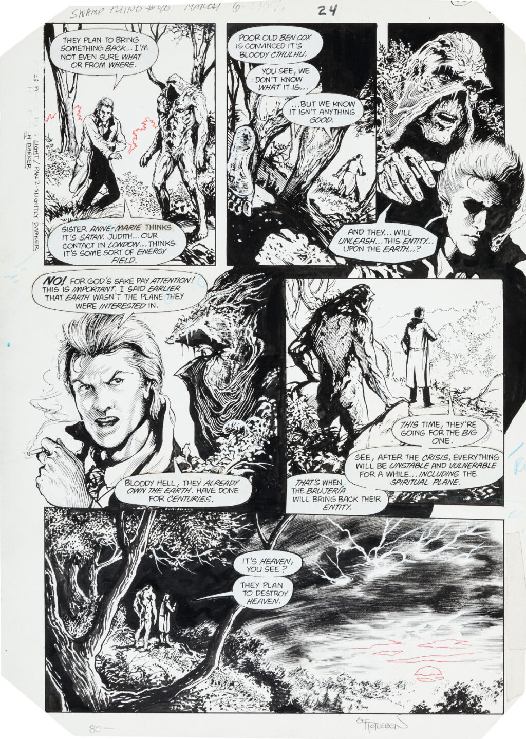 Swamp Thing issue 46 page 24 by Steve Bissette and John Totleben