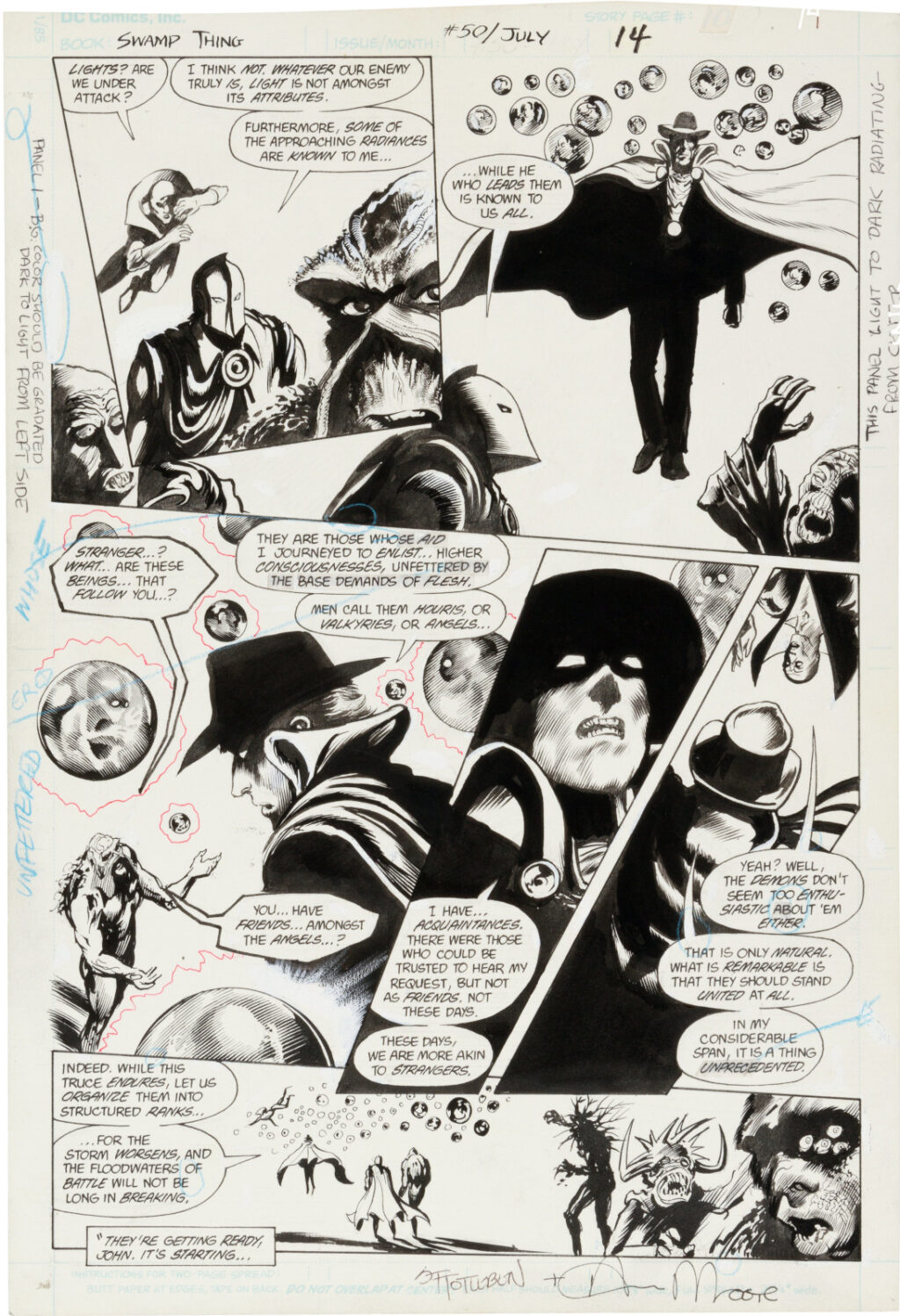 Swamp Thing issue 50 page 14 by Steve Bissette and John Totleben