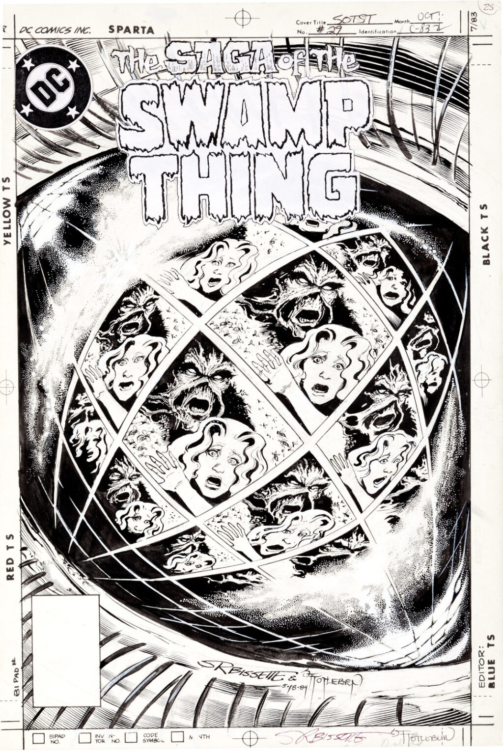 The Saga Of The Swamp Thing issue 29 cover by Steve Bissette and John Totleben