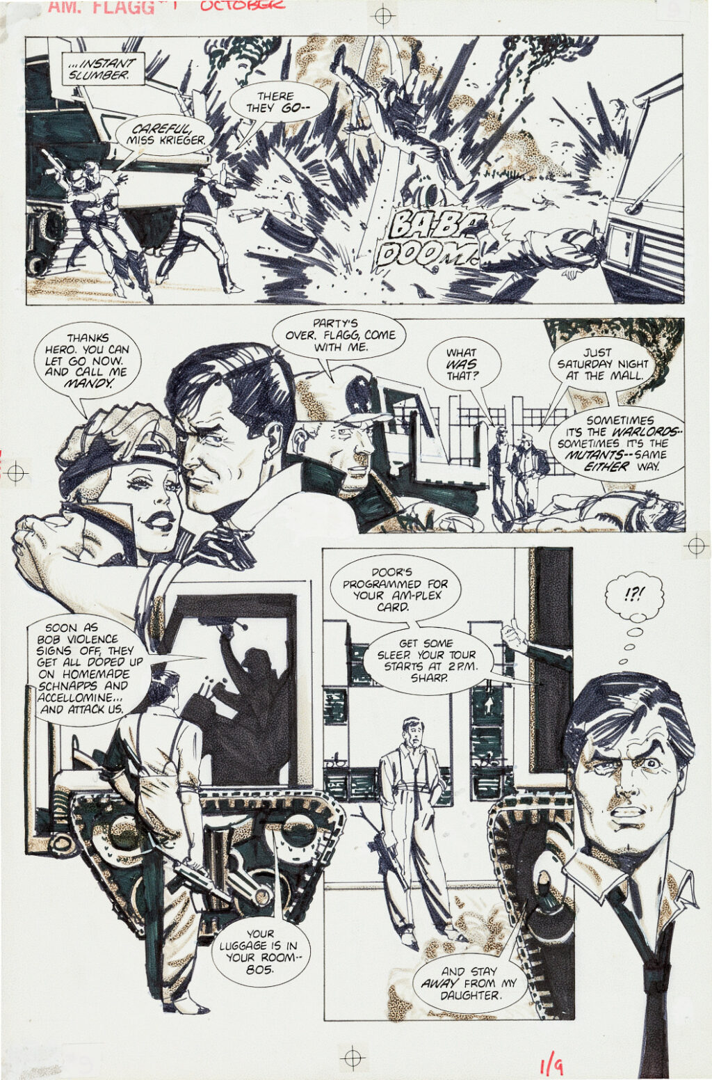 American Flagg issue 1 page 9 by Howard Chaykin