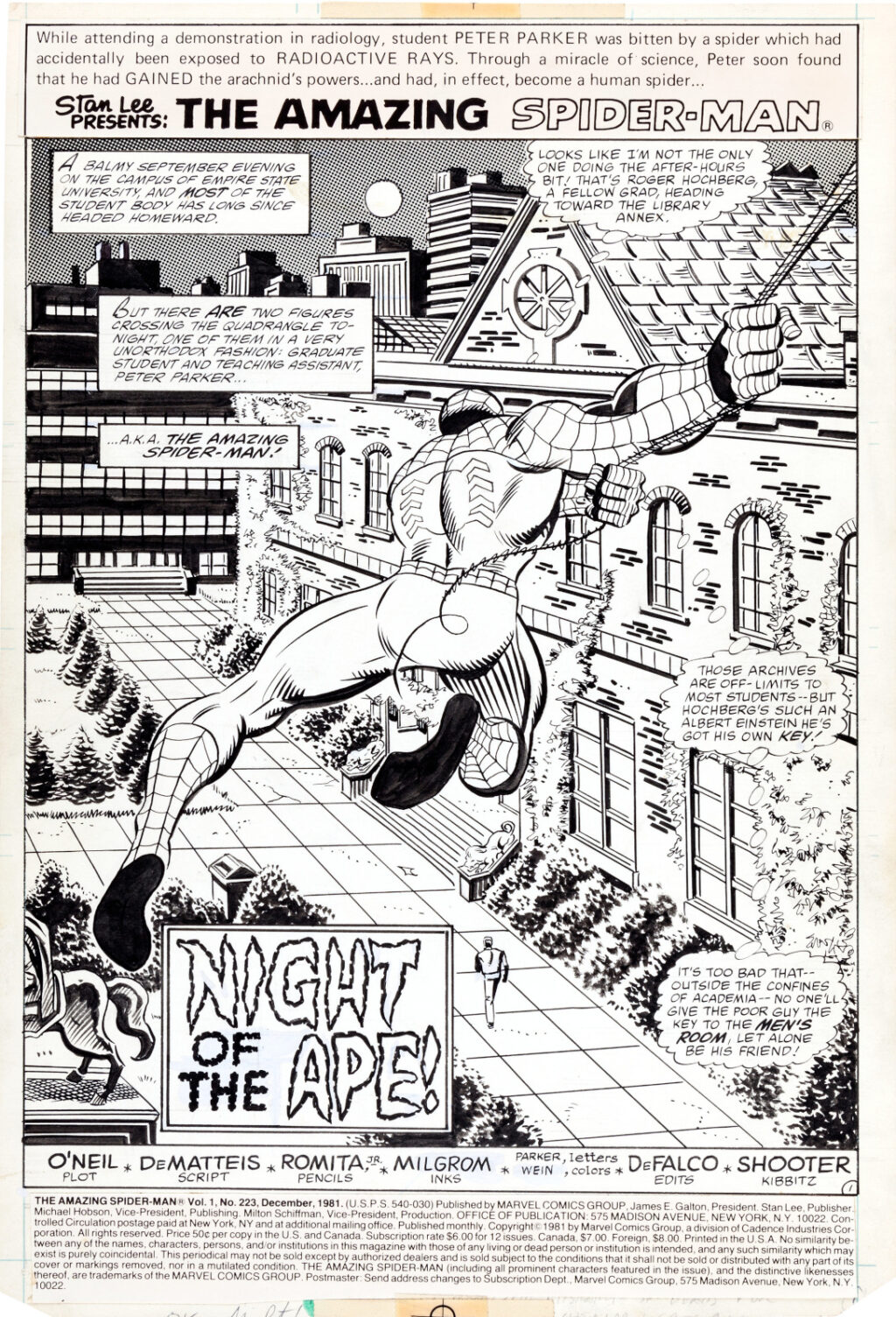 Amazing Spider Man issue 223 page 1 by John Romita Jr. and Al Milgrom