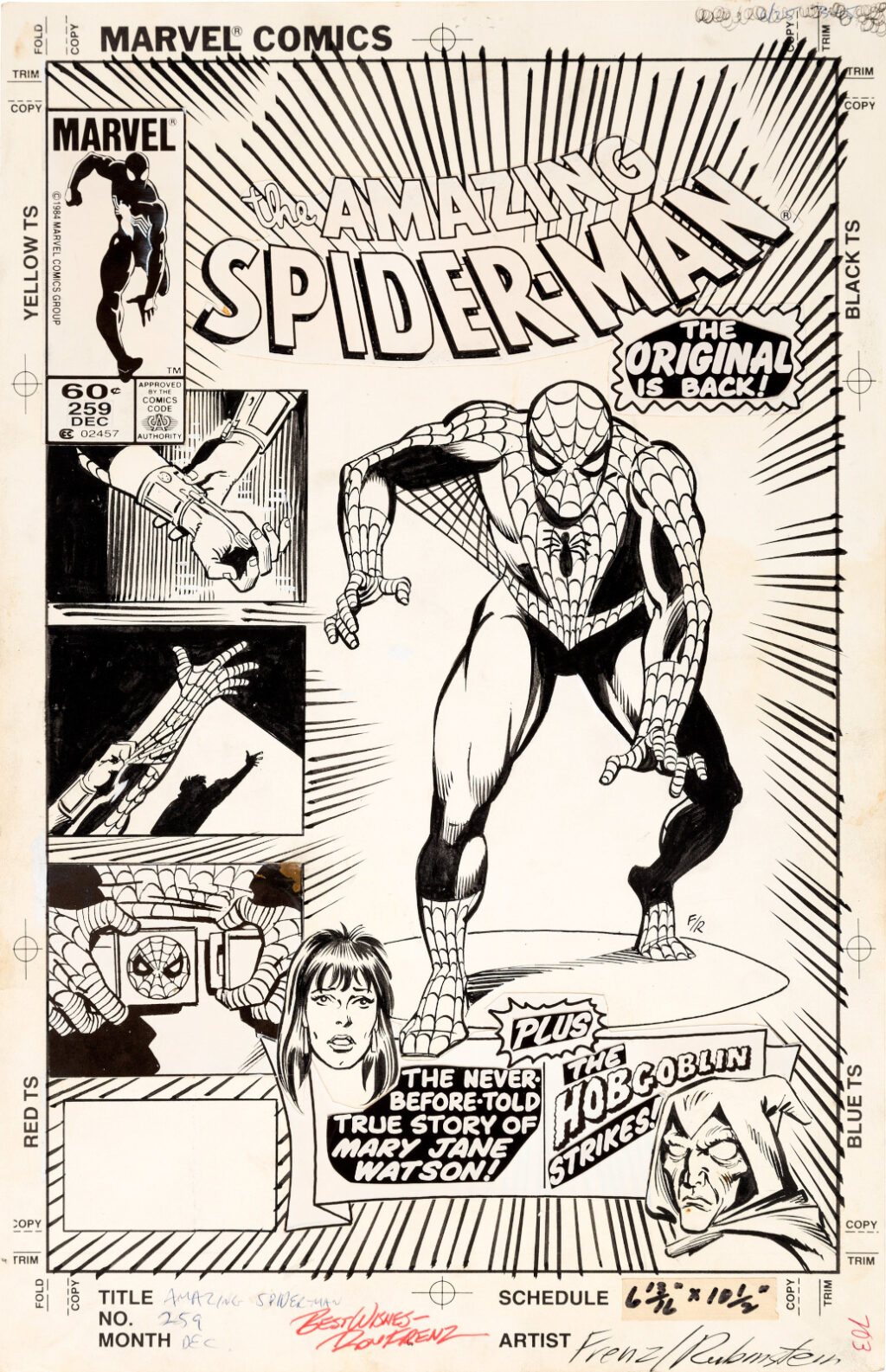 Amazing Spider Man issue 259 cover by Ron Frenz and Joe Rubinstein