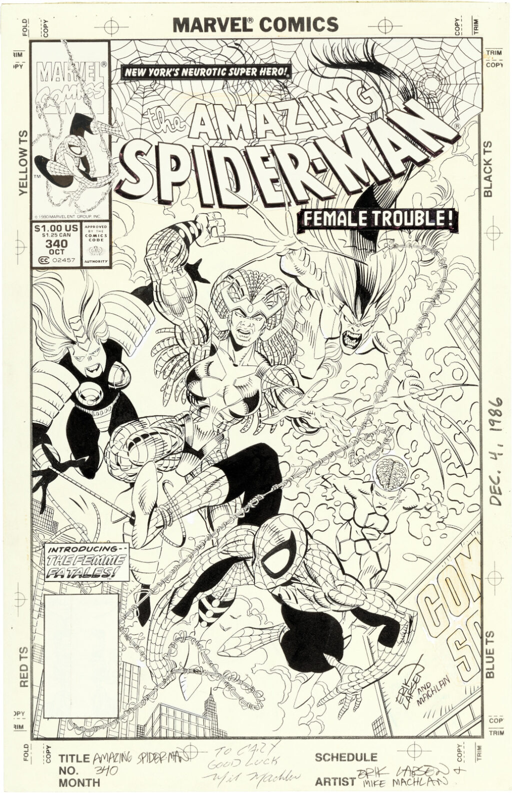 Amazing Spider Man issue 340 cover by Erik Larsen and Mike Machlan
