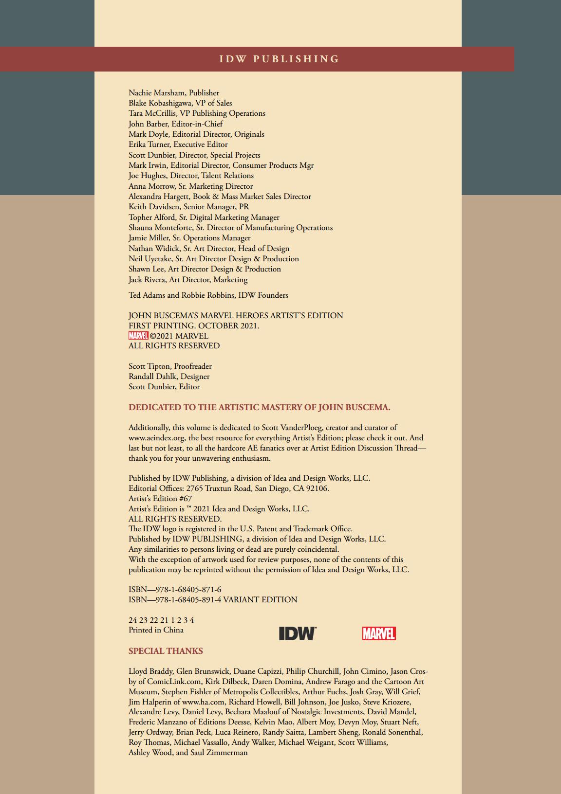 John Buscemas Marvel Heroes Artists Edition Dedication