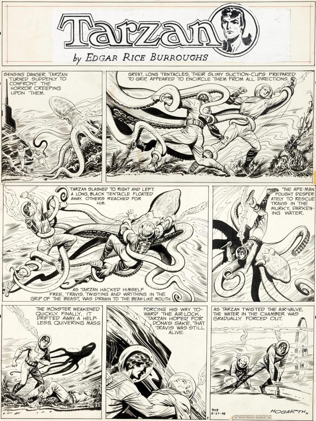 Tarzan Sunday 6 27 1948 by Burne Hogarth