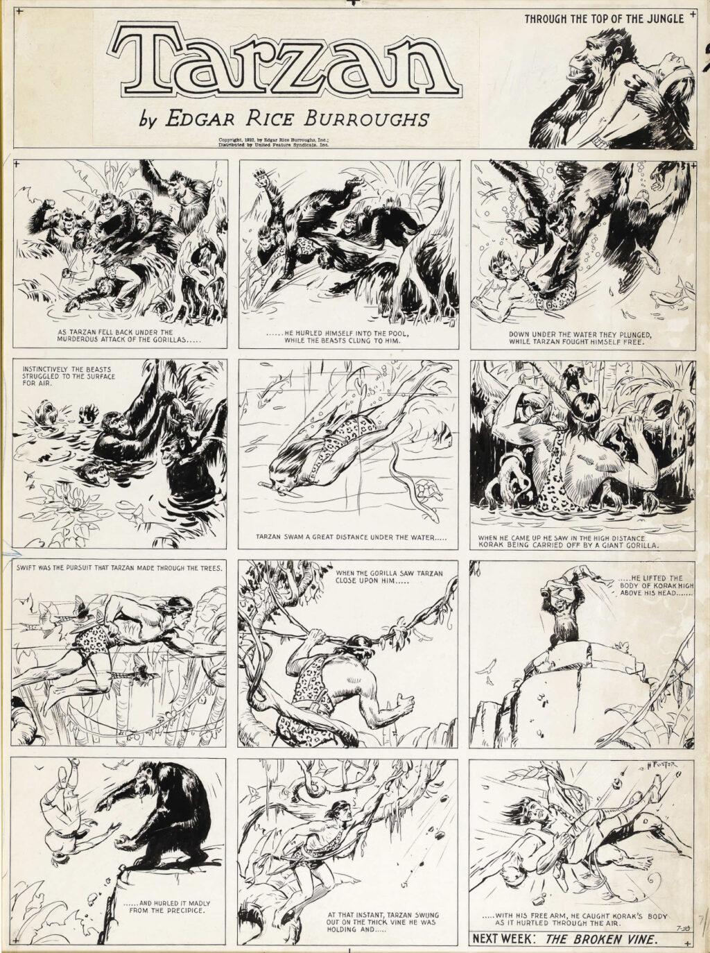 Tarzan Sunday 7 10 1932 by Hal Foster