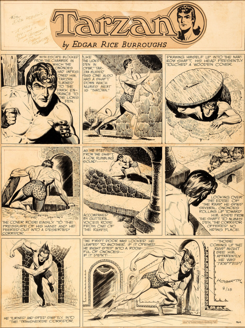 Tarzan Sunday 8 28 1949 by Burne Hogarth