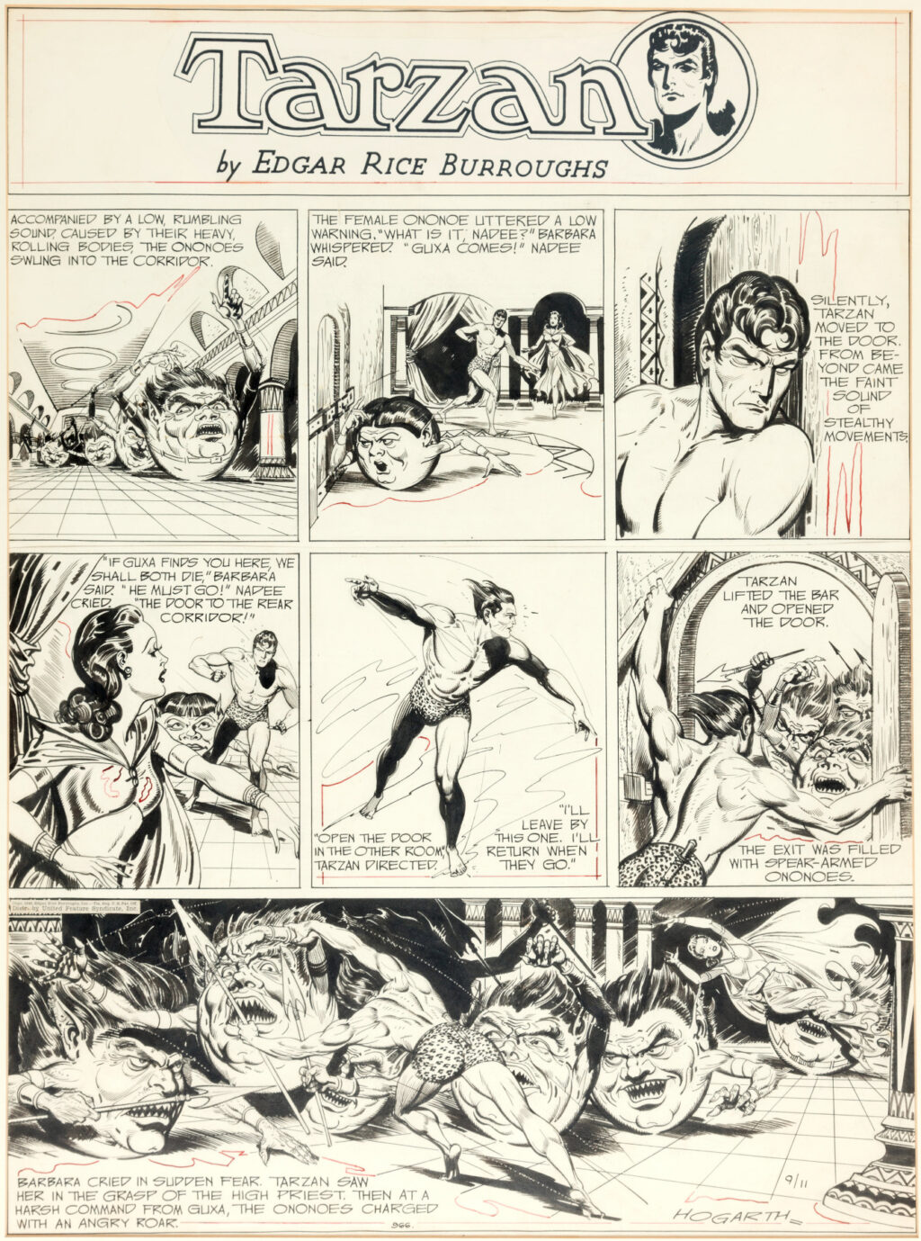 Tarzan Sunday 9 11 1949 by Burne Hogarth