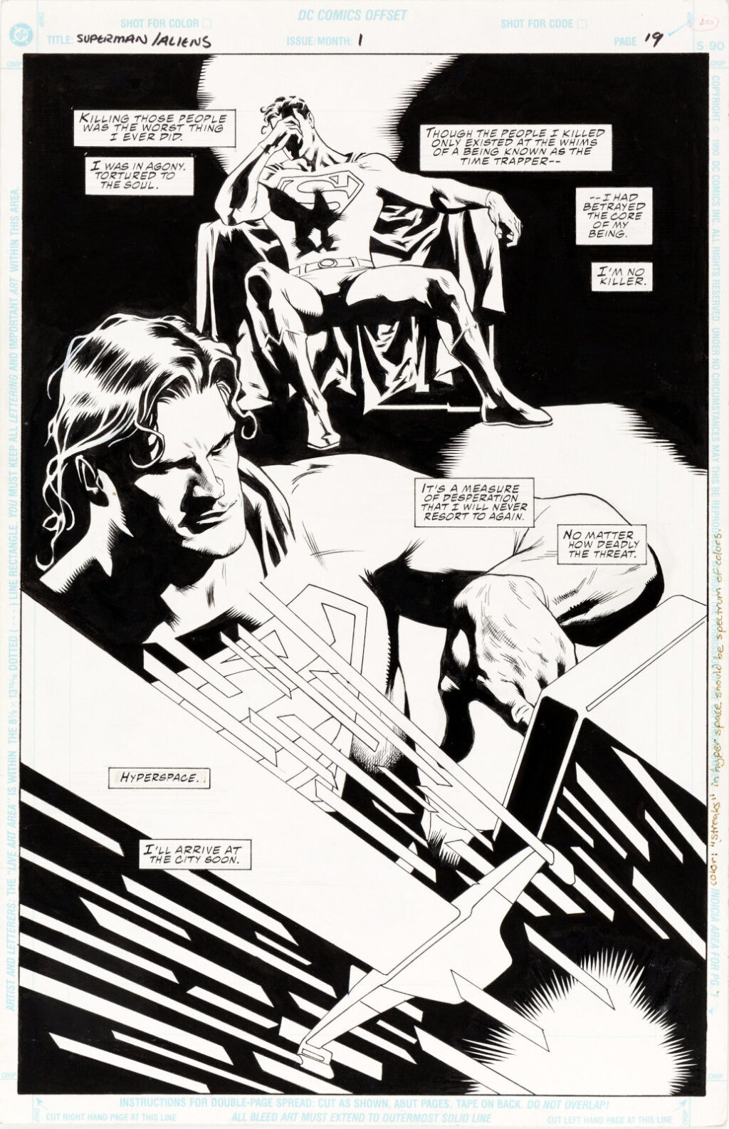 Superman vs. Aliens issue 1 page 19 by Dan Jurgens and Kevin Nowlan