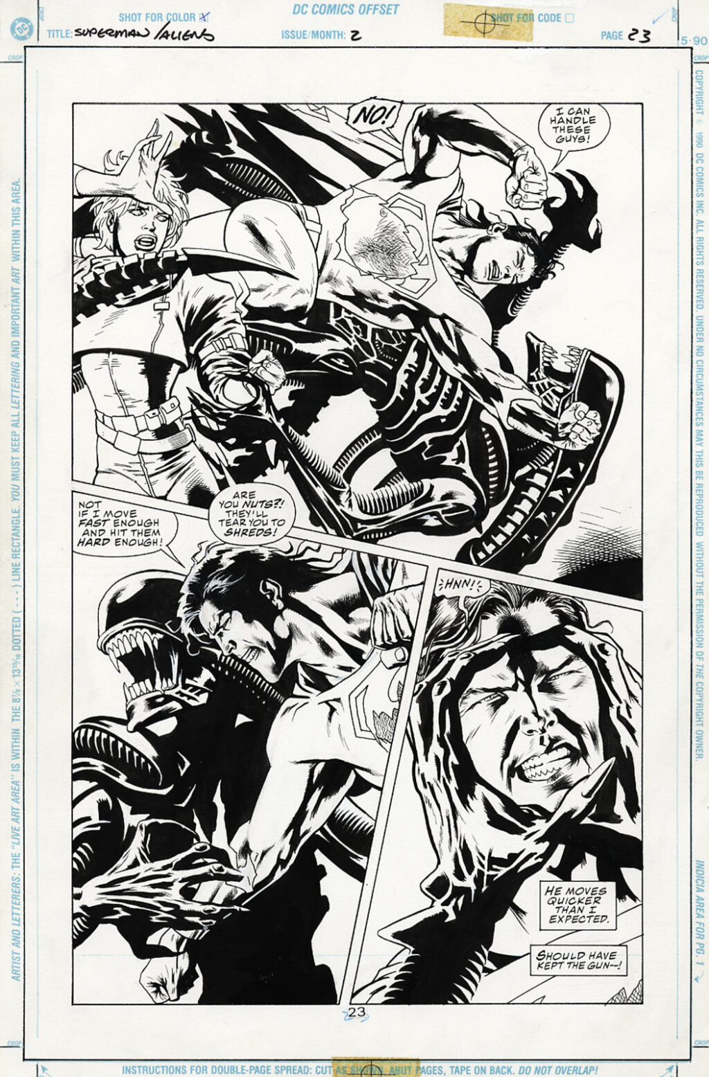 Superman vs. Aliens issue 2 page 23 by Dan Jurgens and Kevin Nowlan