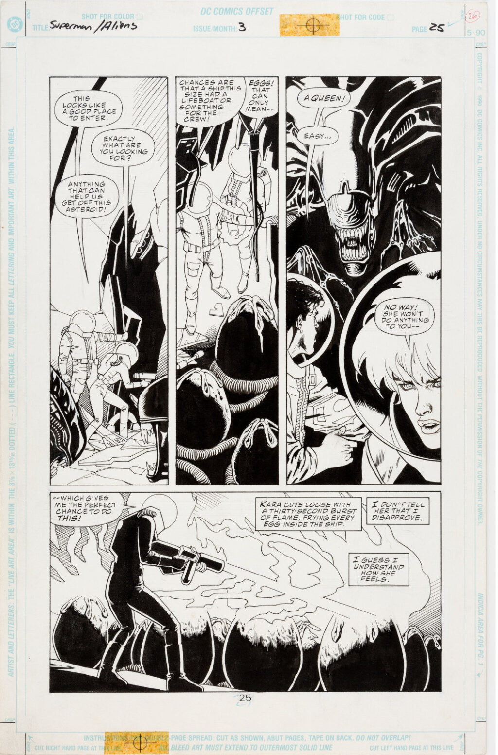 Superman vs. Aliens issue 3 page 25 by Dan Jurgens and Kevin Nowlan