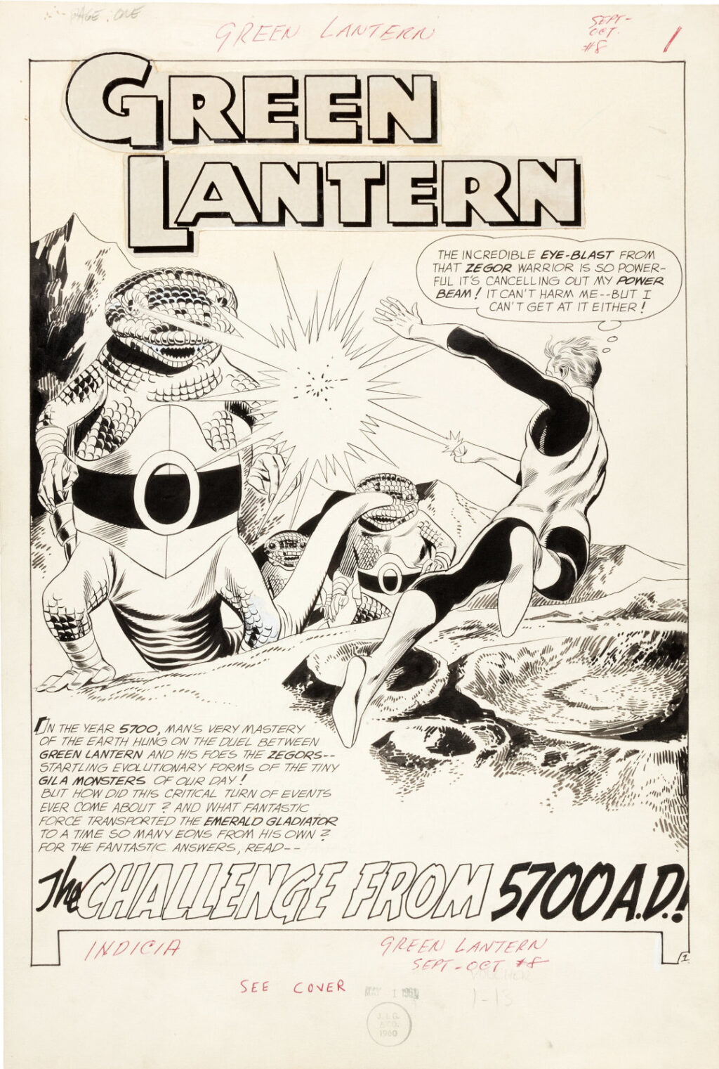 Green Lantern issue 8 page 1 by Gil Kane and Joe Giella