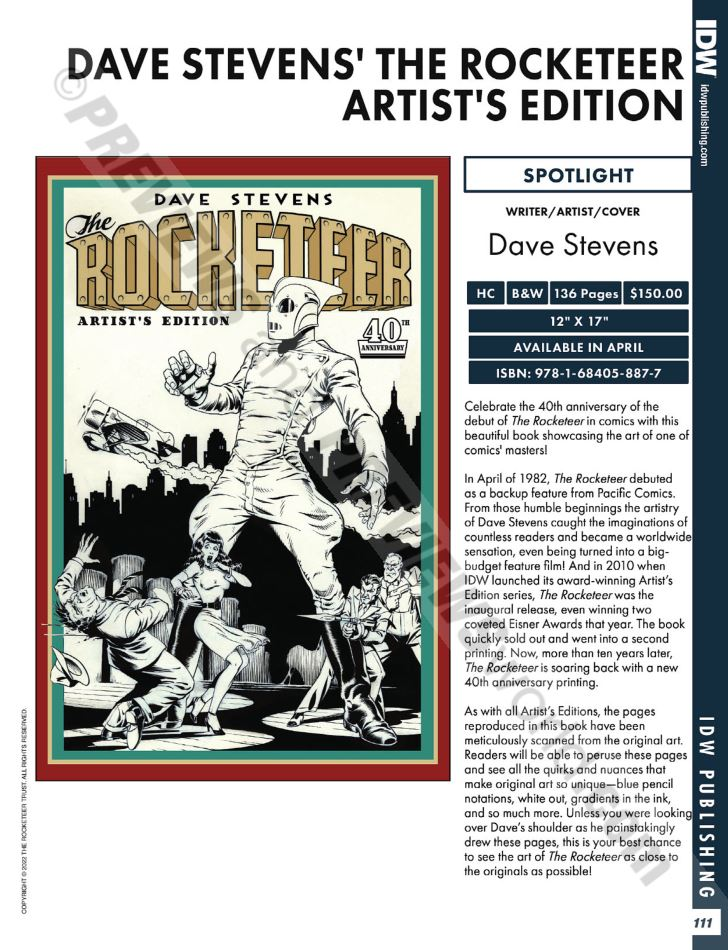 Dave Stevens The Rocketeer Artists Edition 40th Previews